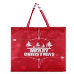 Red Bokeh Christmas Background Zipper Large Tote Bag