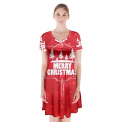 Red Bokeh Christmas Background Short Sleeve V-neck Flare Dress