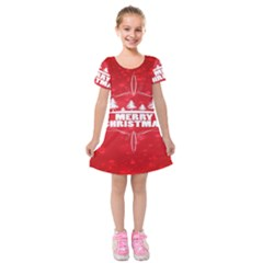 Red Bokeh Christmas Background Kids  Short Sleeve Velvet Dress