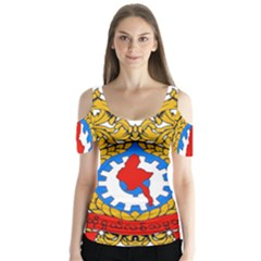 State Seal of Burma, 1974-2008 Butterfly Sleeve Cutout Tee