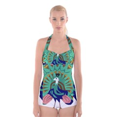 Burma Green Peacock National Symbol  Boyleg Halter Swimsuit