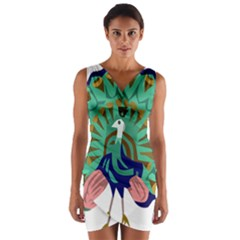 Burma Green Peacock National Symbol  Wrap Front Bodycon Dress