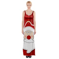 Santa Claus Xmas Christmas Maxi Thigh Split Dress