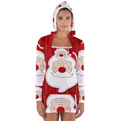 Santa Claus Xmas Christmas Women s Long Sleeve Hooded T-shirt