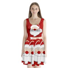Santa Claus Xmas Christmas Split Back Mini Dress
