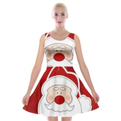 Santa Claus Xmas Christmas Velvet Skater Dress