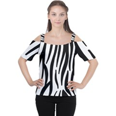 Seamless Zebra Pattern Women s Cutout Shoulder Tee