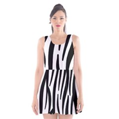 Seamless Zebra Pattern Scoop Neck Skater Dress
