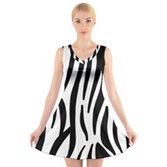 Seamless Zebra Pattern V-Neck Sleeveless Skater Dress