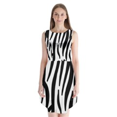Seamless Zebra Pattern Sleeveless Chiffon Dress