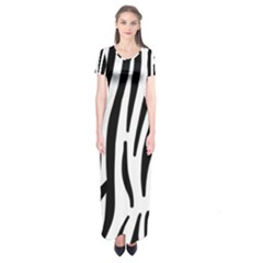 Seamless Zebra Pattern Short Sleeve Maxi Dress