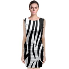 Seamless Zebra Pattern Sleeveless Velvet Midi Dress
