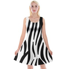 Seamless Zebra Pattern Reversible Velvet Sleeveless Dress