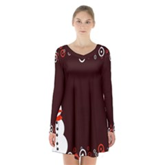 Snowman Holidays, Occasions, Christmas Long Sleeve Velvet V Neck Dress