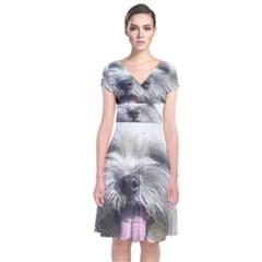 Coton De Tulear Short Sleeve Front Wrap Dress