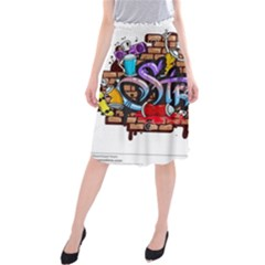 Graffiti Word Characters Composition Decorative Urban World Youth Street Life Art Spraycan Drippy Bl Midi Beach Skirt