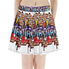 Graffiti Word Characters Composition Decorative Urban World Youth Street Life Art Spraycan Drippy Bl Pleated Mini Skirt