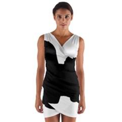 Coton De Tulear Silo Black Wrap Front Bodycon Dress