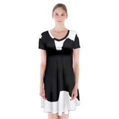 Coton De Tulear Silo Black Short Sleeve V-neck Flare Dress