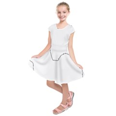 Coton De Tulear Silhouette Color Kids  Short Sleeve Dress