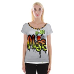Graffiti Word Character Print Spray Can Element Player Music Notes Drippy Font Text Sample Grunge Ve Women s Cap Sleeve Top