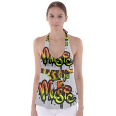 Graffiti Word Character Print Spray Can Element Player Music Notes Drippy Font Text Sample Grunge Ve Babydoll Tankini Top