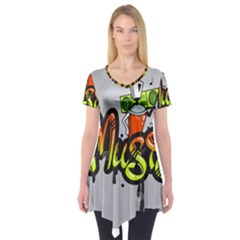 Graffiti Word Character Print Spray Can Element Player Music Notes Drippy Font Text Sample Grunge Ve Short Sleeve Tunic