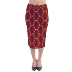 Snake Abstract Pattern Velvet Midi Pencil Skirt