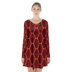 Snake Abstract Pattern Long Sleeve Velvet V Neck Dress