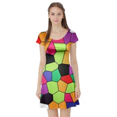 Stained Glass Abstract Background Short Sleeve Skater Dress