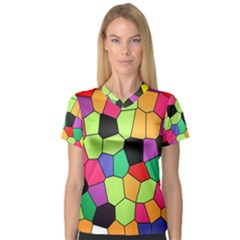 Stained Glass Abstract Background Women s V-Neck Sport Mesh Tee
