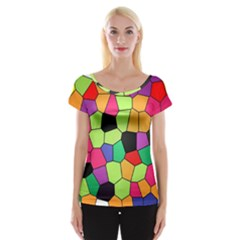 Stained Glass Abstract Background Women s Cap Sleeve Top