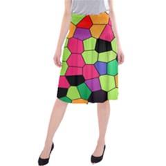Stained Glass Abstract Background Midi Beach Skirt