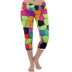 Stained Glass Abstract Background Capri Yoga Leggings