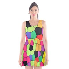 Stained Glass Abstract Background Scoop Neck Skater Dress