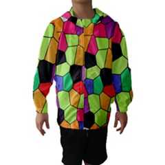 Stained Glass Abstract Background Hooded Wind Breaker (Kids)