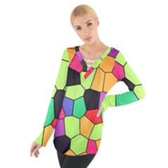 Stained Glass Abstract Background Women s Tie Up Tee