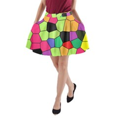 Stained Glass Abstract Background A-Line Pocket Skirt