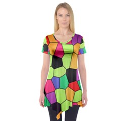 Stained Glass Abstract Background Short Sleeve Tunic