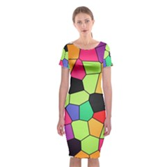 Stained Glass Abstract Background Classic Short Sleeve Midi Dress