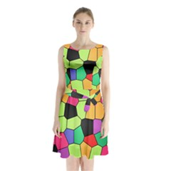 Stained Glass Abstract Background Sleeveless Chiffon Waist Tie Dress