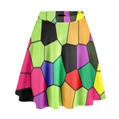 Stained Glass Abstract Background High Waist Skirt
