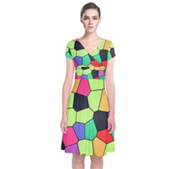 Stained Glass Abstract Background Short Sleeve Front Wrap Dress