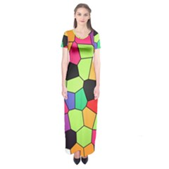 Stained Glass Abstract Background Short Sleeve Maxi Dress