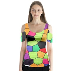 Stained Glass Abstract Background Butterfly Sleeve Cutout Tee