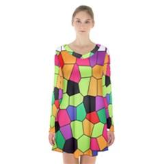 Stained Glass Abstract Background Long Sleeve Velvet V Neck Dress