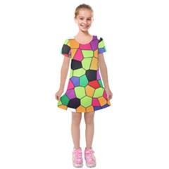 Stained Glass Abstract Background Kids  Short Sleeve Velvet Dress