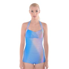 Twist Blue Pink Mauve Background Boyleg Halter Swimsuit