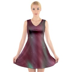 Stars Nebula Universe Artistic V-Neck Sleeveless Skater Dress