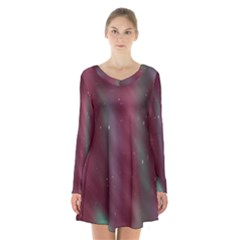Stars Nebula Universe Artistic Long Sleeve Velvet V Neck Dress